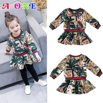 Spring Autumn jungle leafs banana printing long sleeve baby girls princess dress kid chiffon children 80-125cm