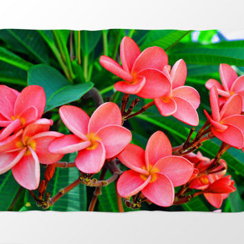 Red Orange Plumerias - Fleece Blanket, Beach Tropical Coral Fleece Throw, Home Furnishings Interior Accent Plush Fleece in 30x40 50x60 60x80