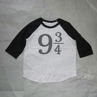 Girl boy tshirt 9 3/4 Harry Potter shirt Toddler shirts /raglan shirt kids clothing for 2T/ 4T/5-10 years