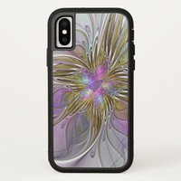 Floral Colorful Abstract Fractal With Pink & Gold iPhone X Case
