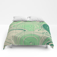 Spiraling Green Comforters by sm0w
