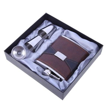 7oz Luxury Stainless Steel Leather Hip Flask Set Whiskey Flaskn with 1 Funnel 2 Cups
