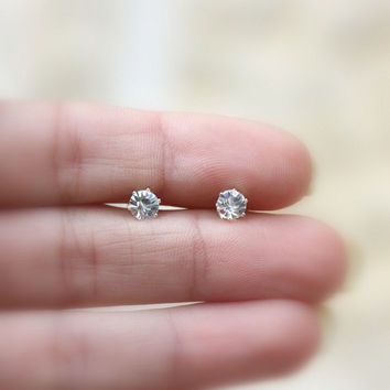 Silver earrings  Tiny stud earrings 5mm CZ Sterling by JulJewelry