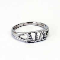 Alpha Gamma Delta Greek Letter Ring with Diamonds - Alpha Gamma Delta - Sorority