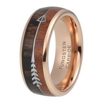 CERTIFIED 8mm Tungsten Carbide Wedding Band Rose Gold Plated Koa Wood Inlay