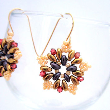 Beaded Earrings /  Super Duo Earrings / Swarovski Earrings / Beaded Jewelry / Gold Filled Earrings