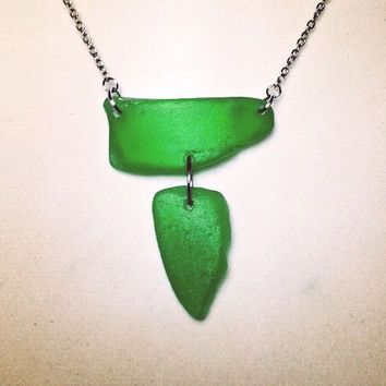 One of a kind Two Piece Green Sea Glass Necklace
