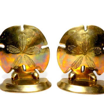 Brass Sand Dollar Bookends, Tropical Bookends, Beach Decor, Tropical Decor, Sea Shell Bookends, Sand Dollars
