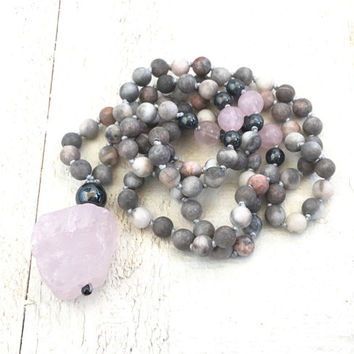 Raw Rose Quartz Mala Beads, Jasper Mala Necklace, Hand Knotted Mala, Yoga Meditation Beads, Yoga Jewelry, Jasper 108 Bead Mala
