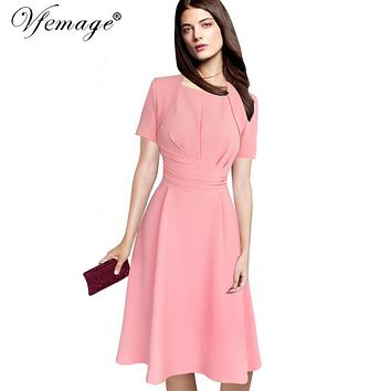 Vfemage Women Elegant Vintage Draped Ruffle Tunic Slim Pinup Casual Work Office Business Party A-Line Skater Dress 6111