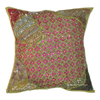 Green Antique Beaded Patchwork & Embroidered Accent Throw Pillow Cover Sham