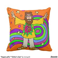 """hippie gifts"" ""father's day"" throw pillow"