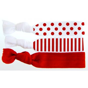 Printed Cherry Dots and Stripes 3-Pack Hair Tie Set