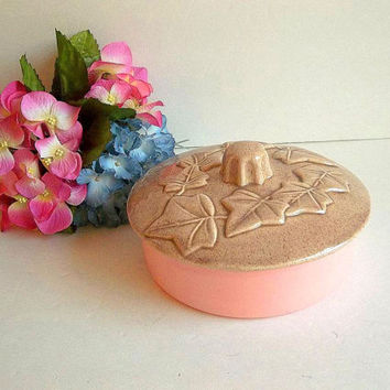 Vintage Don Jay Ceramics covered dish, trinket box, powder box, pink and taupe brown, leaf design, vanity item, candy jar, California