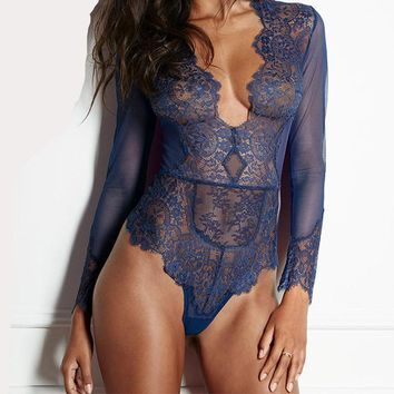 High-Cut, Deep-V Lace Bodysuit