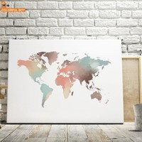 Watercolor World Map Wall Art Canvas Painting Nordic Posters And Prints Kids Decoration Wall Pictures For Living Room Boy Home
