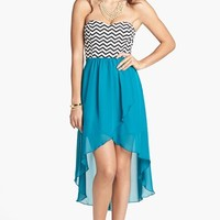 Trixxi Chevron Bodice High/Low Dress (Juniors) | Nordstrom
