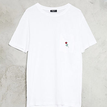 Embroidered Rose Pocket Tee
