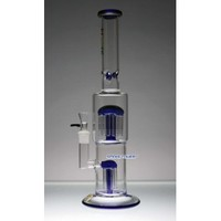 "16"" Flame Glass Bong with 12-Arms Top Perc and 6 Arms Down Perc"