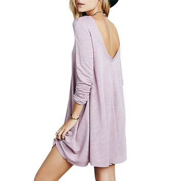 Casual Round Collar Long Sleeve Pure Color Cotton Blend Women Straight Dress