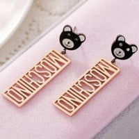 MOSCHINO Hypoallergenic Faucet Earrings Jewelry Bear Earrings F0392-1