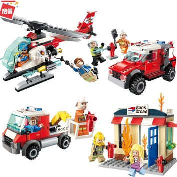 ENLIGHTEN City Friends Police Fire Truck Spray Water Gun Firemen Car Aircraft Building Blocks Sets Kids Toys Compatible Legoings