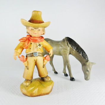 Anri Ferrandiz Carved Wood Cowboy Sheriff Figurine Heart Guns 1960s Collectible Western Little Boy Wooden Carving
