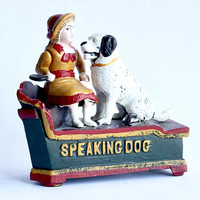 Vintage Speaking Dog Cast Iron Bank Repro Circa 1950s | Metal Coin Money Jar 50s Collectible Retro Antique Moving Mechanical