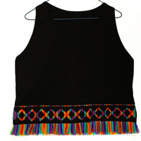 Tribal Top, Women Tank, Rainbow Top with Fringe in Peruvian fabric, Peruvian textile, Women's Tshirts, Women's Tops, Tank Top, T shirt