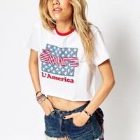 ASOS Festival Cropped T-shirt With Tipped Neckline And Doors Print