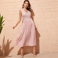 Elegant Pink Criss-cross Wrap Lace Bodice Pleated Long Party Dress Women Double V Neck Sleeveless A Line Dresses