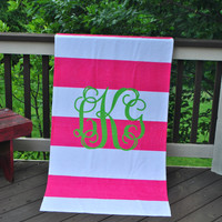 Pink Rugby Stripe - Beach Towel