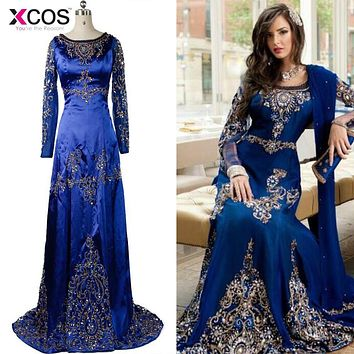 Stunning Royal Blue Beaded Muslim Evening Dress 2016 Long Sleeves Moroccan Kaftan Dress Stretch Satin Chiffon Prom Party Gowns