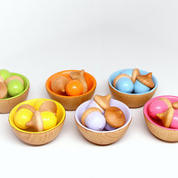 Color Sorting Toy (18 Acorns  6 Bowls) for Children / Kids Wooden Eco Friendly Handmade Toy / Educational Toy / Montessori Toy / Waldorf Toy