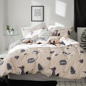 Papa&Mima Pastoral style bedding set Little fox holding a bow print Cotton Queen King size duvet cover flat sheet pillowcases