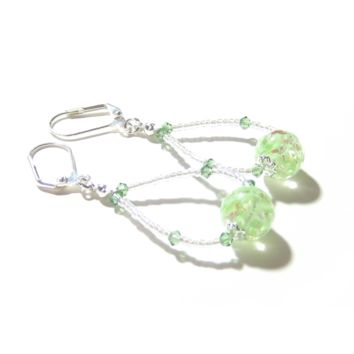 Murano Glass Green Ball Sterling Silver Earrings, Hoop Earrings
