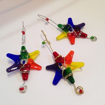 Rainbow Mini Star Ornaments / Set of 3 / Gay Pride / Your Choice of Colors / Suncatcher / Gift Wrap Decoration / Dorm Room Decor / LGBT