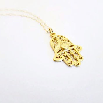 Petite Gold Hamsa Necklace- 18k Gold Hamsa Charm on Delicate 14k Chain