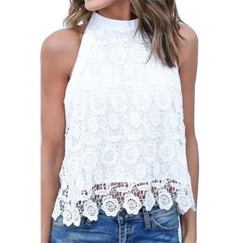 Fashion New Blusas 2016 Sexy Women Sleeveless Blouse Lace Floral Crochet Tops Patchwork Backless Big Bowknot White Shirts