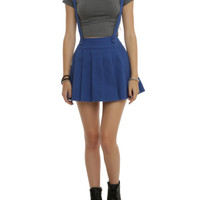 Blue Pleated Suspenders Skirt