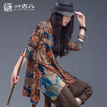 Jiqiuguer Brand Long Sleeve Tops for Women Loose Vintage Floral Blouse in Casual Plus Size Print Tees for Summer Tops G133Y002