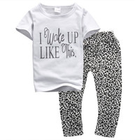New Arrive Summer 2PCS Toddler Kids Baby Girls Outfit Clothes Printed letter T-shirt+ Boho Pants Set