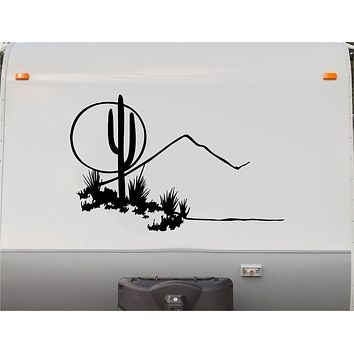 RV Camper Vinyl Decal Sticker  Cactus Desert Scene