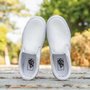 Vans Slip-On Classic Leather Flats Sneakers Sport Shoes Day-First™