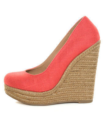 My Delicious Glow Coral Linen Espadrille Wedges - $29.00