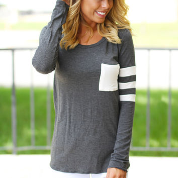 Charcoal Top With Pocket