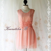 SALE - Flying II - Cutie Freshly Mini Dress Orange Nude Toned  Matching Plait Rope Romance Dress