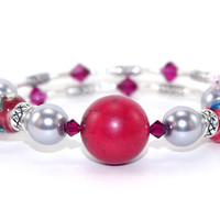 Red turquoise gray glass pearl memory wire bracelet, Red ruby Swarovski crystals, Floral ceramic beads, Silver plated beads, Memory wrap