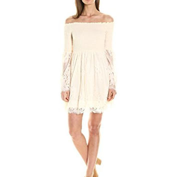Taylor and Sage Women's Lace Smocked Off the Shoulder Dress