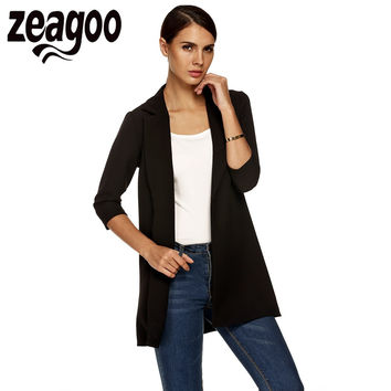 Zeagoo Autumn Women Trench Coat Fashion Outwear Open Front Lapel Half Sleeve Coat Loose Long Windbreaker Outwear Cardigan